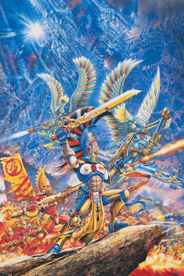 Eldar Aspect Warriors battle to defend their Craftworld. This image originally graced the cover of the second edition Eldar Codex.