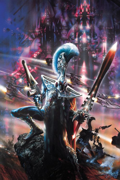This image originally graced the cover of the third edition Eldar Codex.