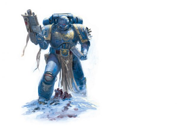 Space Marine from the Ultramarines Chapter reloads his bolter, the standard weapon of the Space Marines.