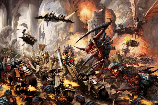 The noble Dark Angels face off against a Tyranid horde from Hive Fleet Behemoth.