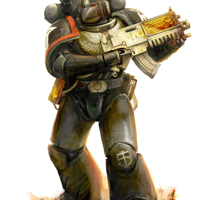 Space Marine of the Raven Guard Chapter, known for their use of subterfuge and stealth tactics.