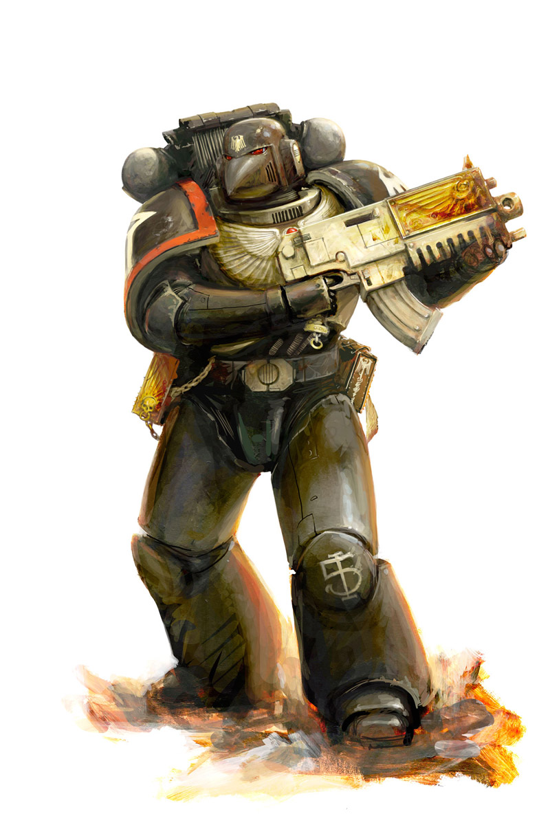 Space Marine of the Raven Guard Chapter, known for their use of subterfuge and stealth tactics. This is reflected in their pitch black armour. Artist – Alex Boyd Released – 2012