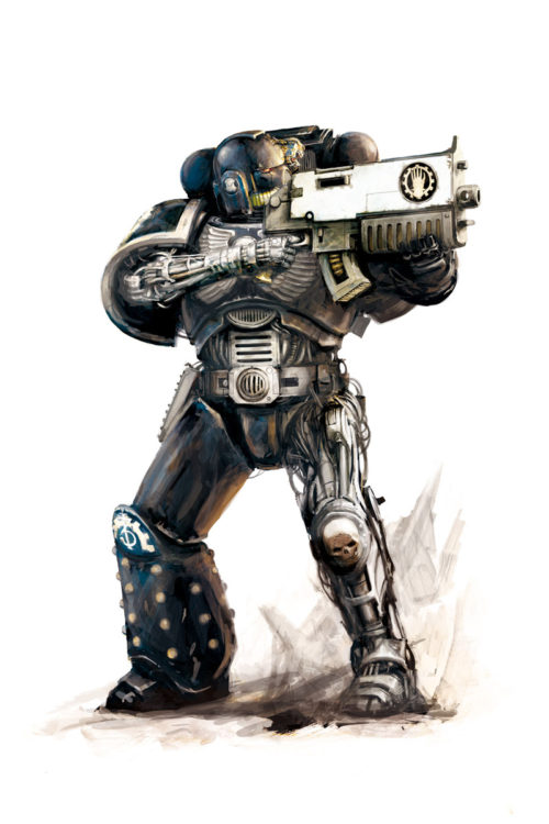 A Space Marine of the Iron Hands Chapter, known for their extensive use of augmetics and bionic implants.