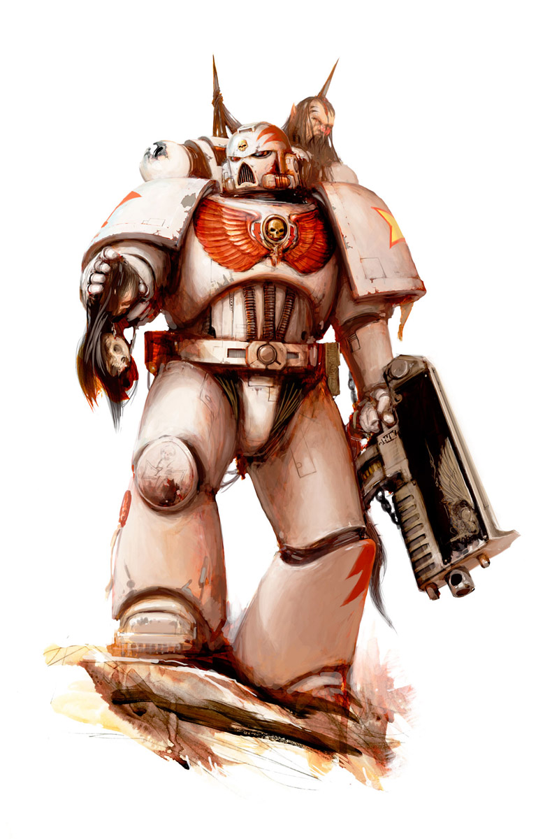 Space Marine of the White Scars Chapter, a brutal Chapter known for their love of speed and strike and fade tactics. Artist – Alex Boyd Released -2012