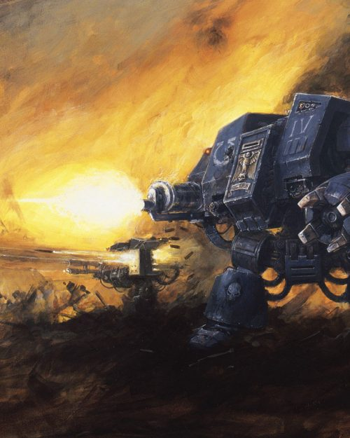 A Space Marine Dreadnought from the Ultramarines Chapter.