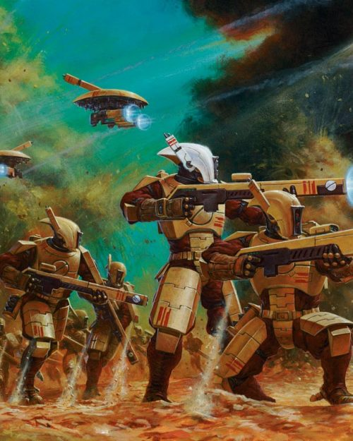 The recon forces of the Tau Empire. Armed with Pulse Carbines and accompanied by hi tech drones, these troops can be found at the forefront of any Tau advance.