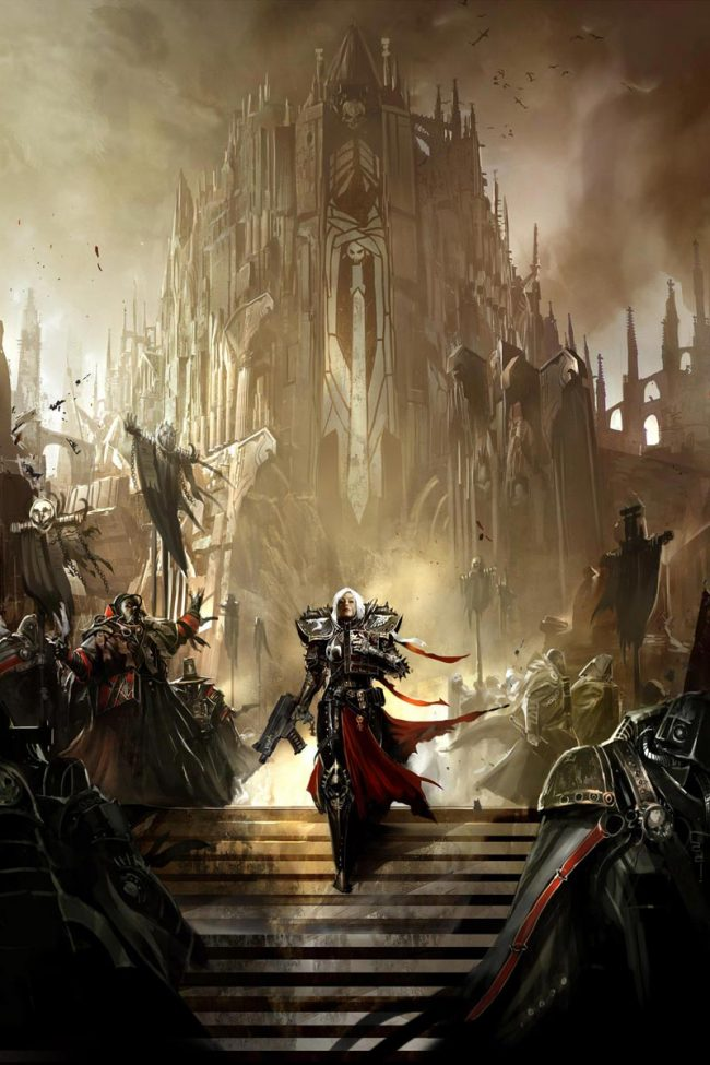 This image depicts the Sisters of Battle in front of one of their warrior cathedrals.