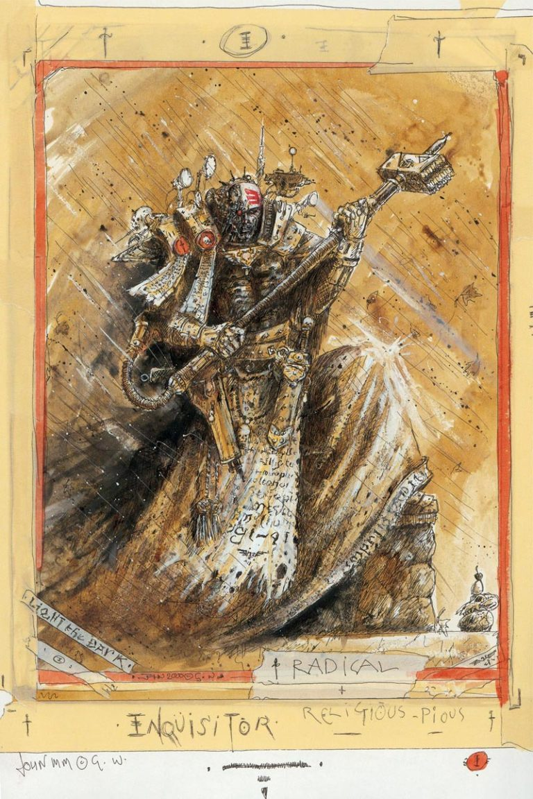 An Inquisitor, agent of the Imperium. This piece was created by John Blanche for the Horus Heresy card game.