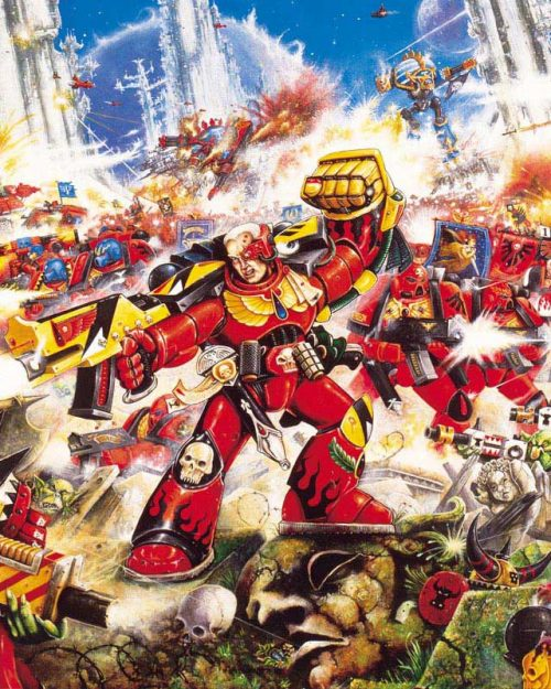 Space Marines from the Blood Angels Chapter face down an overwhelming force of Orks.