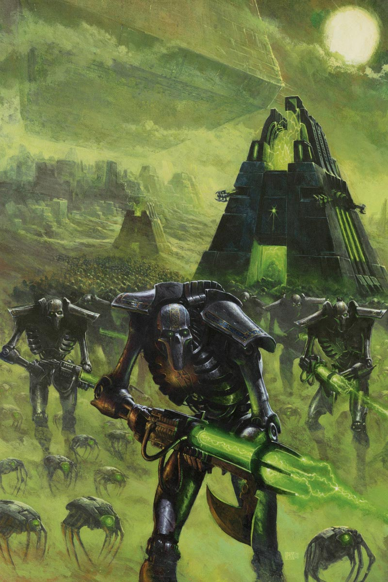 A phalanx of Necron Warriors marches to war. In the background we see a Monolith and other machines of war.