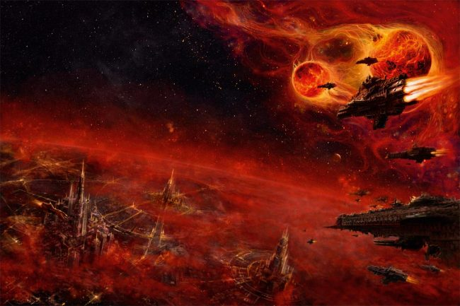 An orbital view of Asphodex, a planet in the Baal system. This image was created for the Shield of Baal campaign books.