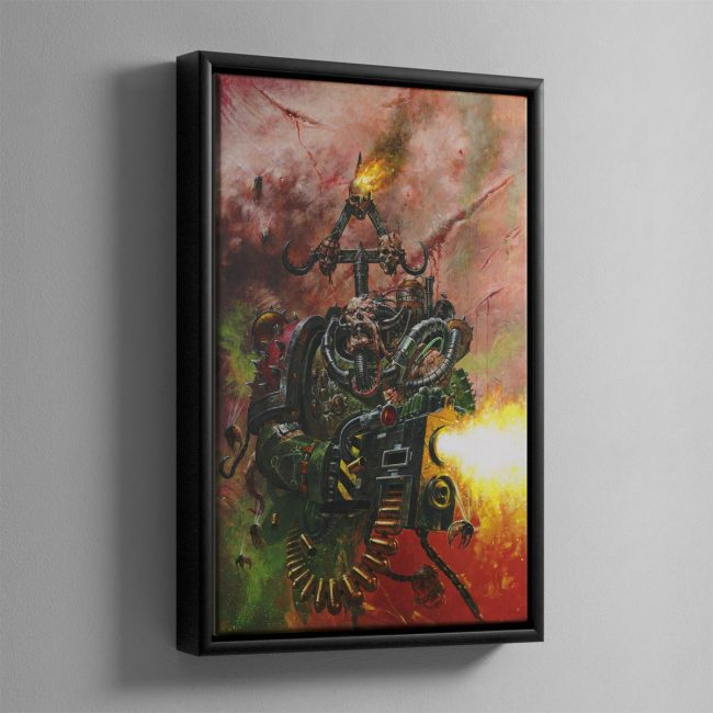 A NURGLE WORSHIPPING CHAOS PLAGUE MARINE – Framed Canvas