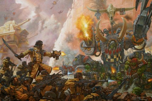 The Armageddon Steel Legion face off against Ghazgkhul Thrakka.
