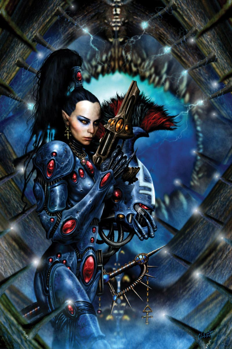 The Dire Avengers are first amongst the Aspect Warriors of the Eldar. They represent the War God's unending thirst for vengeance upon a galaxy of woe, and as such they are merciless to their foes and unstinting in their devotion to their people. This image was featured on the cover of the Ian Watson novel Harlequin.