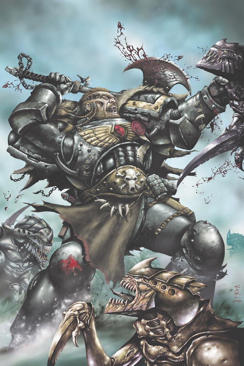A Space Marine of the Space Wolves Chapter dispatches a brood of Tyranid Hormagaunts. This image was created for the cover of Lone Wolves, a Space Wolf graphic novel. Artist – Karl Richardson Release – 2003