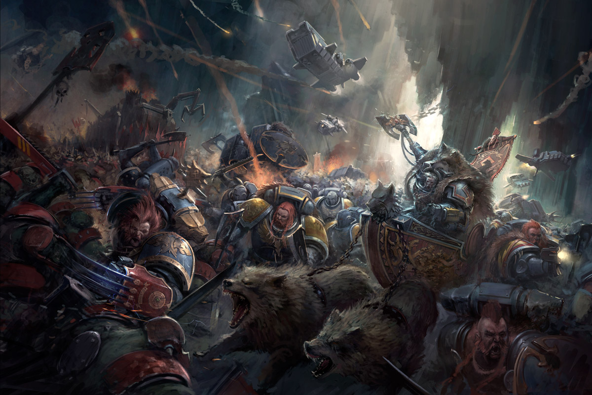 Logan Grimnar rides to battle, surrounded by the mighty Space Wolves.