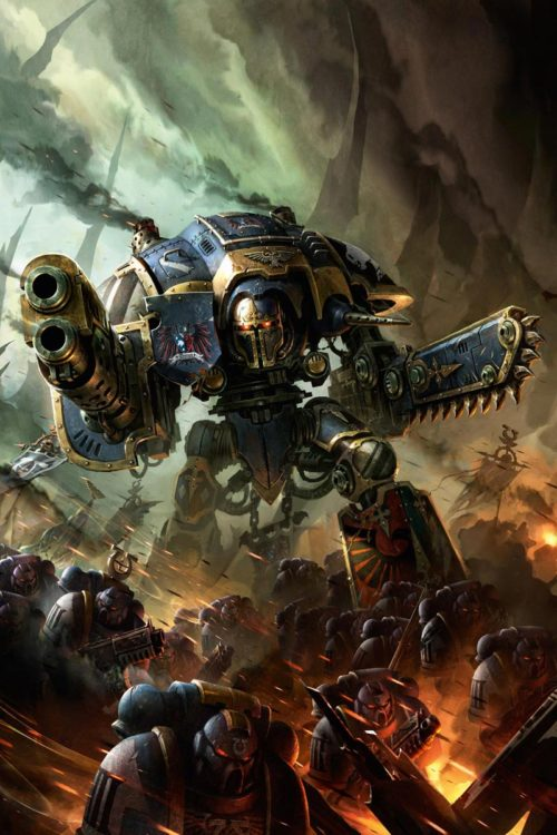 An Imperial Knight of House Terryn accompanies the Ultramarines to war.