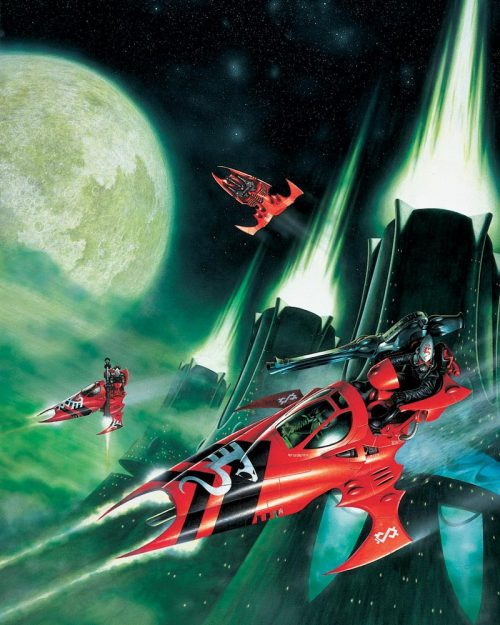 Eldar Vyper Jet Bikes from the Saim Hain Craftworld, this image appeared on the original box cover for this kit.