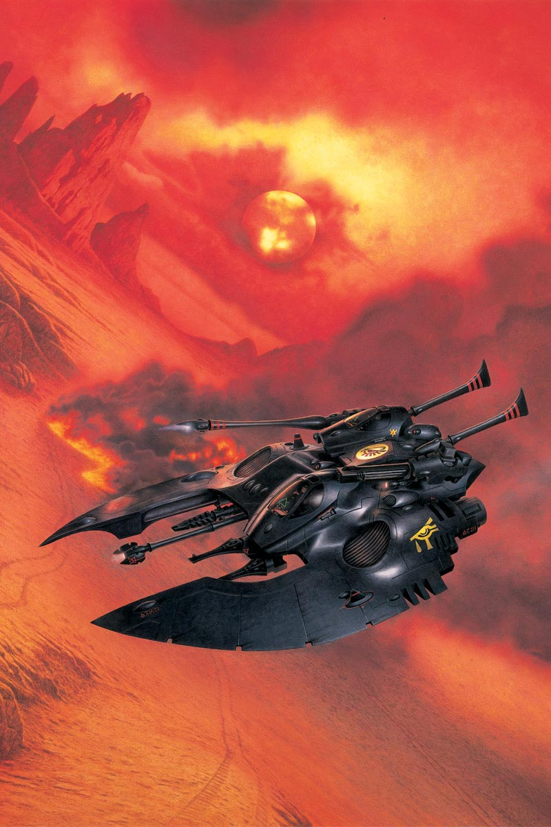 An Eldar Falcon Grav Tank of the Ulthwė Craftworld.
