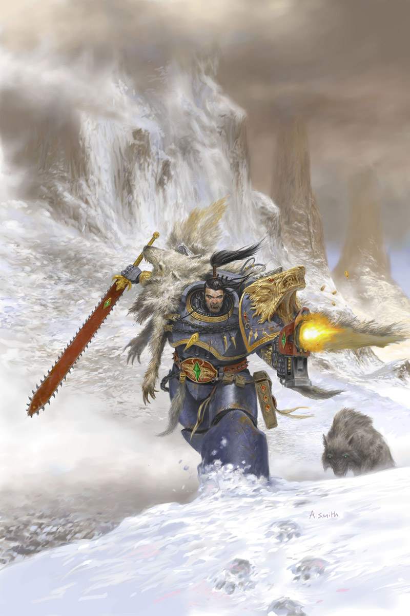 Ragnar Blackmane is one of the most famous Lords of the Space Wolves. This image featured on the omnibus cover for William King's Space Wolf Omnibus.