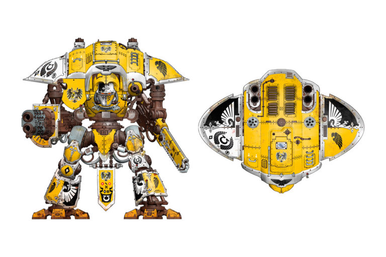 An Imperial Knight from House Hawkshroud. As you can see by the markings on the Knight's pauldrons, this Noble fought alongside the Ultramarines Chapter.