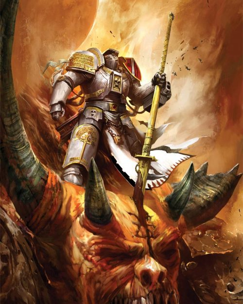 A Grey Knight Terminator stands over the corpse of a Daemon he has slain.