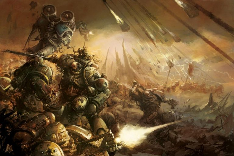 Traitor Legionnaires from the World eaters and Death Guard Legions purge those still loyal to the Emperor in one of the opening battles of the fabled Horus Heresy. Included in Horus Heresy Visions of War.