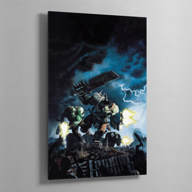 This classic piece of art shows some Ork Boyz doing what they love best, fighting!
