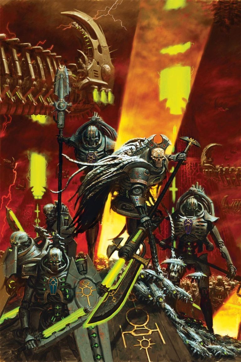 A Necron Overlord leads a squad of Lychguard. Who can tell what nefarious intent lies behind their impassive deathmasks.
