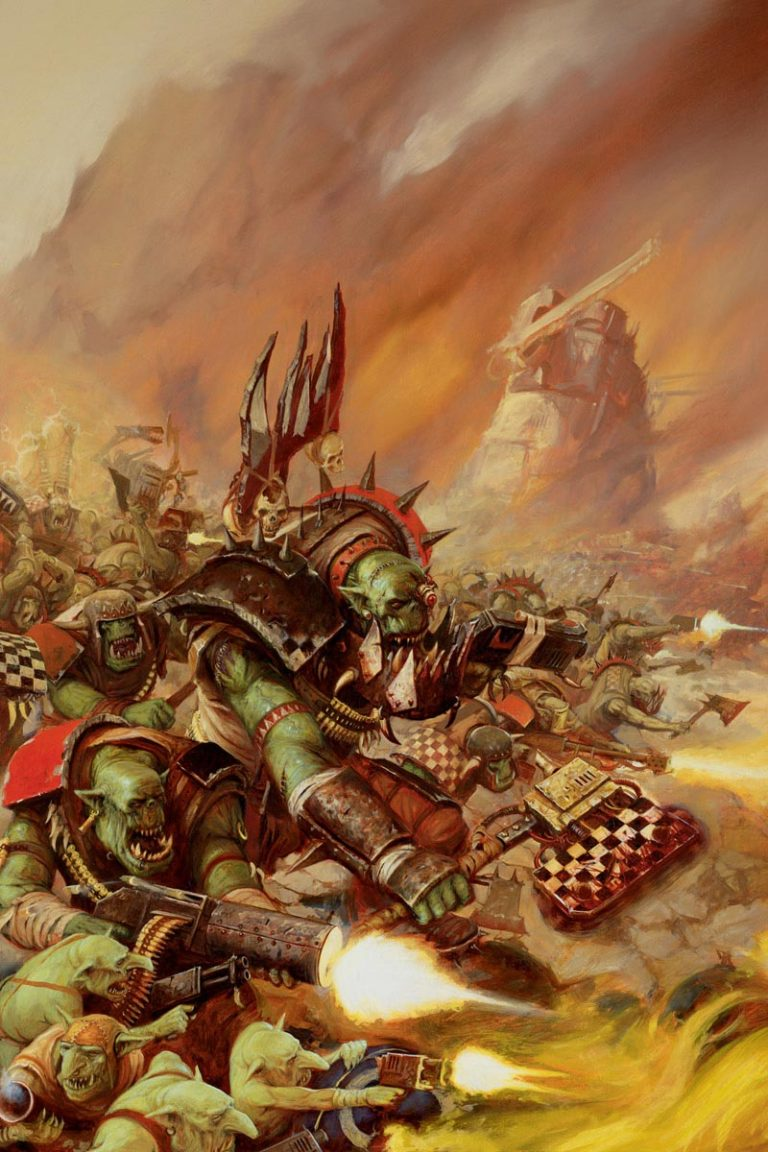 An Ork Warboss leads Orks from the Goff tribe in a Waaagh! The towering Gargant in the background gives you an idea of the terrifying scale of an Ork invasion.