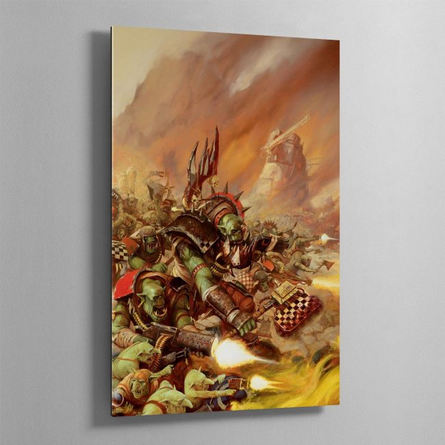 An Ork Warboss leads Orks from the Goff tribe in a Waaagh!