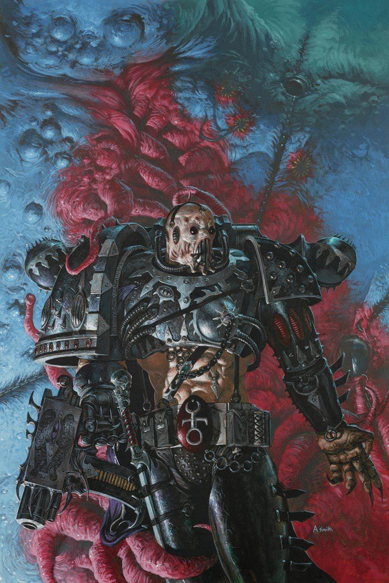A Slaaneshi Chaos Space Marine Warhammer Art