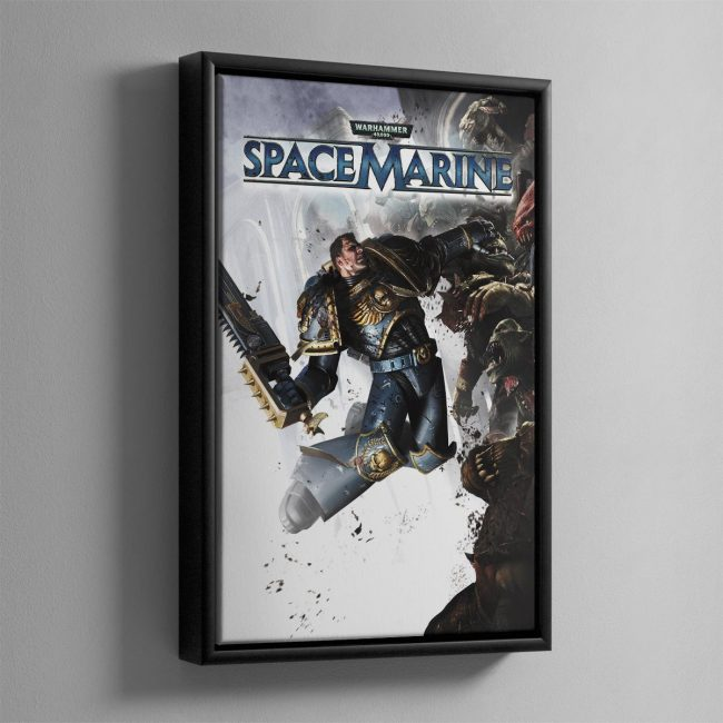 This piece of art was created for the cover of the Space Marine video game by THQ.
