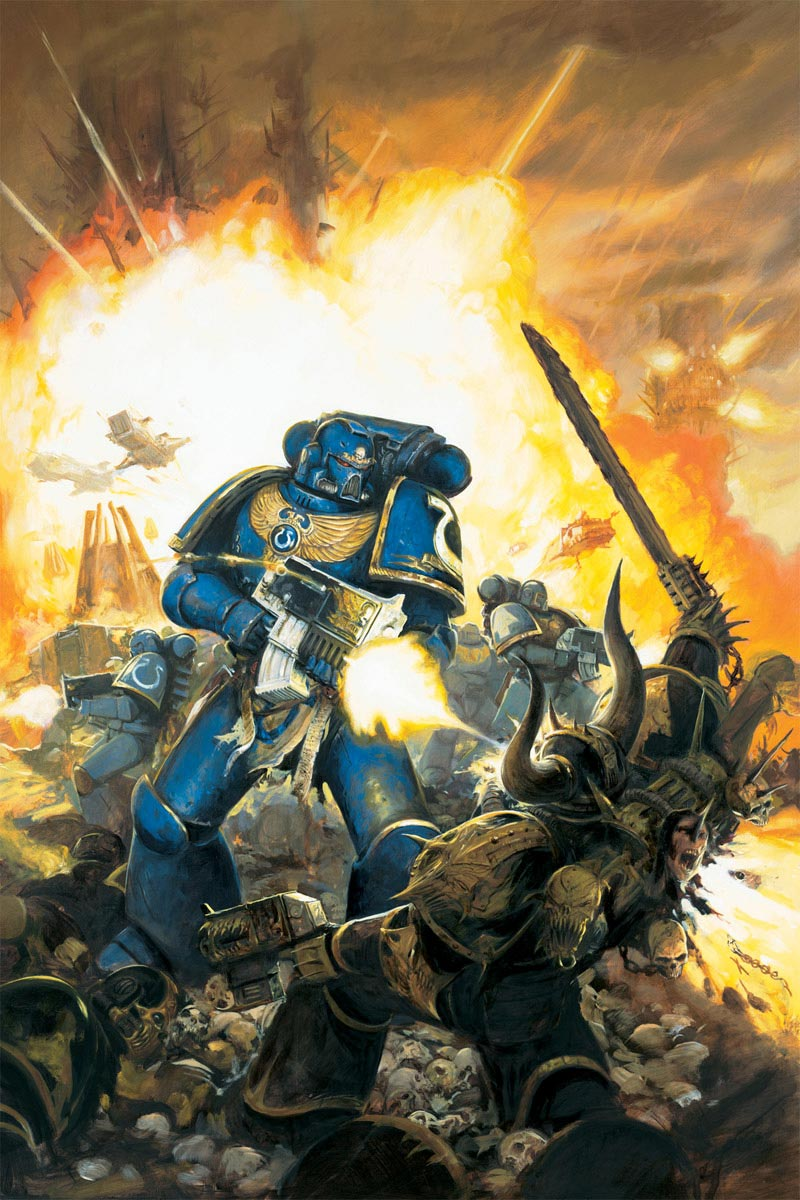 An Ultramarines Space Marine lays waste to a member of the Black Legion. This image graced the cover of the 5th edition Space Marine Codex.
