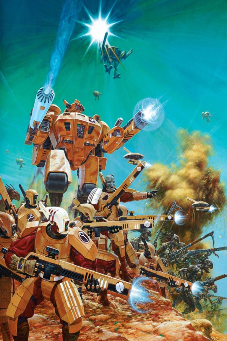 The highly advanced Tau Sept with their Kroot mercenary warriors. This image adorned the cover of the third edition Tau Codex.