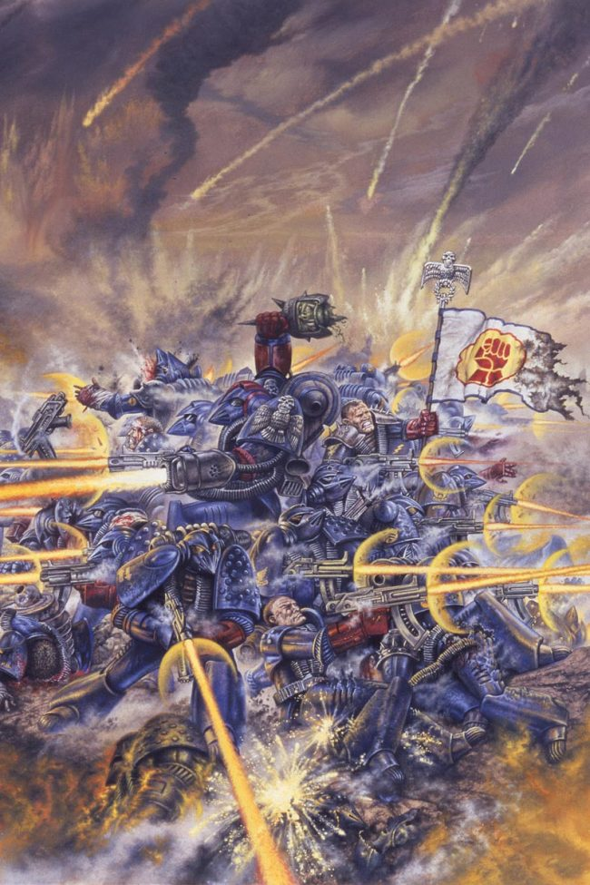 Crimson Fist Space Marines defend a hill from marauding Orks a seminal image from the Warhammer 40,000 universe.