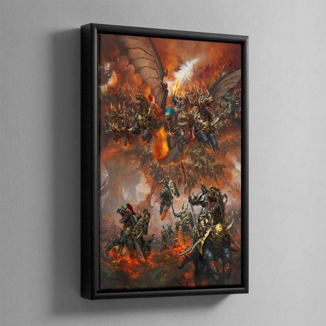 Archaon Everchosen and the Varanguard – Framed Canvas