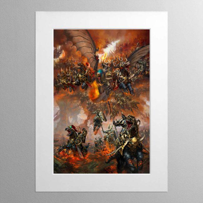 Archaon Everchosen and the Varanguard – Mounted Print