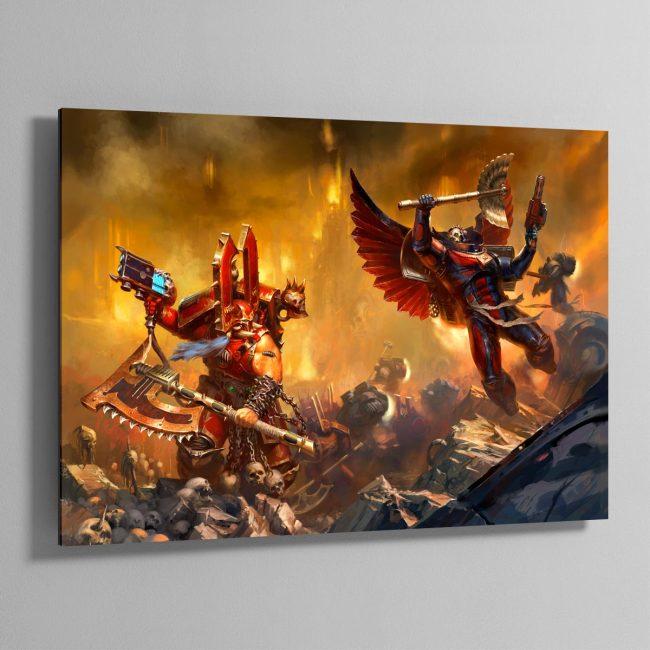 Kharn the Betrayer vs Death Company Chaplain – Aluminium Print