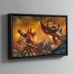 Kharn the Betrayer vs Death Company Chaplain – Framed Canvas