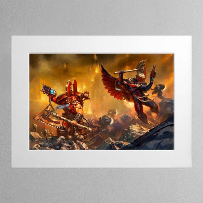 Kharn the Betrayer vs Death Company Chaplain – Mounted Print