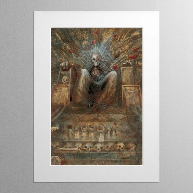 The Emperor Sits Upon His Golden Throne – Mounted Print