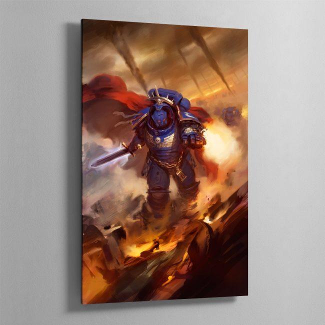 Ultramarines Captain in Gravis Armour – Aluminium Print