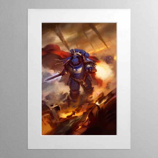 Ultramarines Captain in Gravis Armour – Mounted Print
