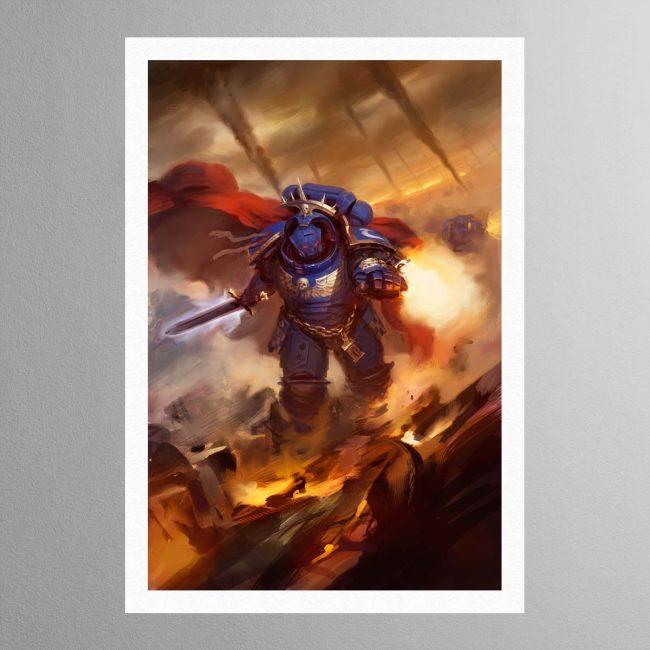 Ultramarines Captain in Gravis Armour – Print