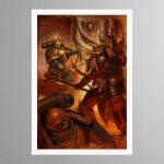 Ultramarine Bladeguard Veterans vs Chaos Lord – Print